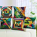 set od 5 šarene geometrijske pamuka / lana dekorativni jastuk naslovnici