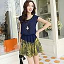 Women's Chiffon Stitching Dresses Short Sleeves Dress