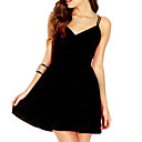 Ženska Deep V backless šifon Mini Dress