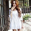 ženski lijepa čipka nabrane struka truba rukava haljina