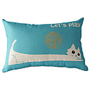 Cartton Long-body Cat Cotton/Linen Decorative Pillow Cover