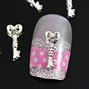 10pcs srebro breskve srce ključ 3d aluminijumske dijamanata nail art ukras