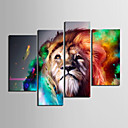 キャンバス地プリントアート動物ライオンは4個セット