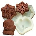 Vánoční sněhová vločka rukavice fondant dort čokoládový Silikonová forma dort dekorace nástroje, l11.7cm * w11cm * h1.7cm