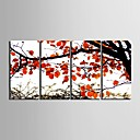 e-HOME® plátně umění červené podzimní listy dekorativní malba sadu 4