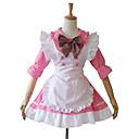 Jednodílné/Šaty / Pokojská Sweet Lolita Lolita Cosplay Lolita šaty Růžová Patchwork Polodlouhé rukávy Short Length Šaty / Zástěra Pro