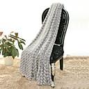 超柔らかい グレー,純色 花/植物 ポリエステル/ポリアミド 毛布 W130×150cm(W50×60in)