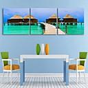 e-HOME® plátně umění přímořského chata dekorace malířské sadu 3
