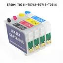 EPSONスタイラスD78 / D92 / SX100 / SX110 / SX200(4色1セット)のためのbloom®エプソンt0711 / t0712 / t0713 / t0714詰め替え可能なインクカートリッジ