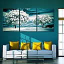 e-HOME® plátně klíčovými stromy ve sněhu dekorace malování sadě 3