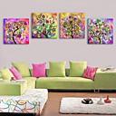 E-home® pruži platnu si sažetak drvo svijetle ukras slikarstvo set od 4