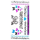 1個防水マルチカラーアラビアナンバリング銀青蝶ハート形蛍光シリーズのタトゥーステッカー