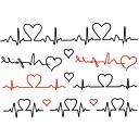 2ks Yimei tetování samolepky vodotěsný řady živočišných ženy / dívka / pánské / dospělý / kluk / dospívající black EKG vzor 17 cm * 16 cm