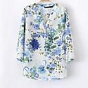 Bluza Ženski,Jednostavno Ležerno/za svaki dan Print-Dugih rukava V izrez-Proljeće Plava Tanko Poliester