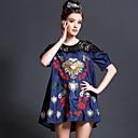 aofuli 2015 ženske berba etničko vez perla čipke patchwork izgubiti veliki plus size traper mini haljina