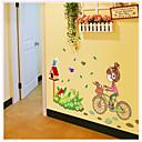 samolepky na zeď na stěnu, jízda na kole dívka PVC samolepky na zeď
