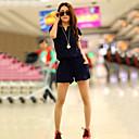婦人向け ビーチ/カジュアル/キュート コットン混 ジャンプスーツ , マイクロエラスティック 薄手 半袖