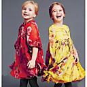 Dívka je Květinový Léto Šaty Směs bavlny Červená / Žlutá