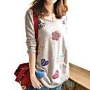Majica s rukavima Ženski,Jednostavno Ležerno/za svaki dan Print-Dugih rukava Okrugli izrez-Sva godišnja doba Siva Srednje Pamuk