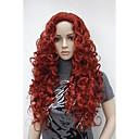 """新しいファッションの魅力的な26 """"暗赤色の長い巻き毛の合成女性のかつら"""
