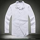 男性用 プレイン カジュアル / オフィス / フォーマル / プラスサイズ シャツ,長袖 コットン / コットン混 ブラック / ブルー / ホワイト