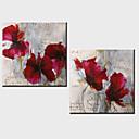 olejomalba dekorace abstraktní květiny ručně malovaná plátna s protáhl zarámovanou - sada 2