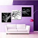 ハングアップする準備ができて、リビングルームのインテリアのための視覚star®blackと白の抽象的な木のキャンバスの壁の芸術