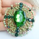 2.36 palců zlato-tón zelené kamínky crystal květina brož přívěsek umělecké dekorace