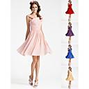 Homecoming Bridesmaid Dress Knee Length Chiffon A Line V Neck Sleeveless Dress