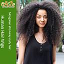 黒人女性のためのモンゴルアフロ変態巻き毛のかつらモンゴルバージン毛のレースの前部人間の髪の毛のかつら