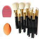 12ks čistá vlna make-up štětce + Čistící kartáč nástroj + krása make-up nadace vejce listového (Smíšený soupravy)