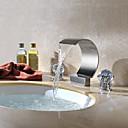 現代風 組み合わせ式 滝状吐水タイプ with  真鍮バルブ 二つのハンドル三穴 for  クロム , バスルームのシンクの蛇口