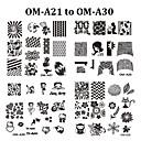 Other Decorations - Kukka - Sormi / Varvas - Metalli - 6.2cmX6.2cm each piece - 10pcs nail plate