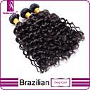 """3枚/ロット12 """"-30""""未処理6Aブラジルの処女自然な黒、深いカール人間の髪の毛の100%人毛が厚い編みます&ソフト"""