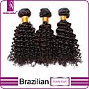 """3枚/ロット12 """"-30""""未処理6Aブラジルの処女自然な黒変態カーリー人間の髪の毛の100%人毛が厚い編みます&ソフト"""