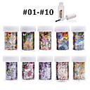 Nové 100designs nehty umění přenos folie papír 10ks + 1ks hřebík fólie lepidlo (od # 01 až # 10)