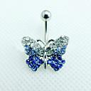 Dámské Navel & Bell Button Rings Nerez / Štras Stříbrná / Modrá Šperky,1ks