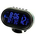 ziqiao multi-funkční auto elektronické hodiny / teploměr / voltmetr s noční světla bílé sklo obrazovky (náhodné barvy)