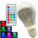 9W E26/E27 LEDボール型電球 A60(A19) 3 ハイパワーLED 500 lm RGB 明るさ調整 / リモコン操作 / 装飾用 AC 100-240 V 1個