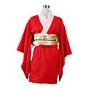 Inspirovaný Gintama Kagura Anime Cosplay kostýmy Cosplay šaty / Kimono Jednobarevné Czerwony Dlouhé rukávyYukata / Rukavice / Spodní