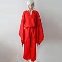 Inspirovaný InuYasha Inu Yasha Anime Cosplay kostýmy Cosplay šaty / Kimono Jednobarevné Czerwony Dlouhé rukávyVrchní deska / Kalhoty /