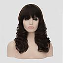 prostřední dlouhé velikosti tmavě hnědé barvy kudrnaté vlasy syntetické paruky