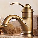 伝統風 センターセット シングルハンドルつの穴  アンティーク真鍮 バスルームのシンクの蛇口