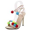 Sandály-PU-Pohodlné / Kotníkový pásek-Dámská obuv-Červená / Bílá / Mandlová-Party-Vysoký