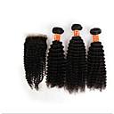 4pcs puno Brazilski kinky kovrčava kosa djevica sa zatvaranjem 3 snopovi neprerađeni Remy ljudske kose potki čipkom zatvaranja