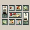 Pejzaž / Mrtva priroda / Fantazija Uokvireni set / Uokvireno ulje na platnu Wall Art,Drvo Materijal Tamno plava Stalak uključen s Frame