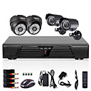4ch CCTV plný d1 detekce DVR motion 800tvl venkovní a vnitřní noční vidění kamerový systém
