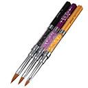 3PCネイルアートケアツール結晶ゲルペンブラシハンドルネイルアートツールのペンの滑り止めハンドル、柔らかい毛