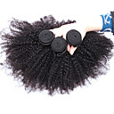 3枚ロット8-26インチ未処理モンゴルバージンヘア自然な黒の色アフロ変態カーリー人間の髪の毛織り