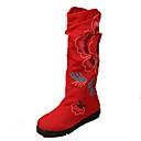ženske čizme za proljeće / jesen / zima modne čizme / udobnost / okrugli toe tkanina vanjska ravna peta cvijet crveno hodanje